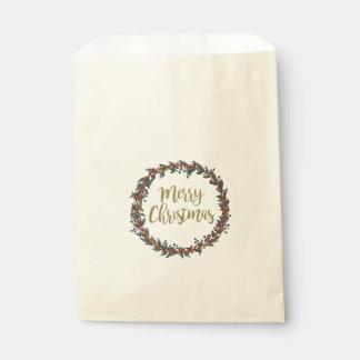 Sacolinha Grinalda da aguarela - Feliz Natal - ramos