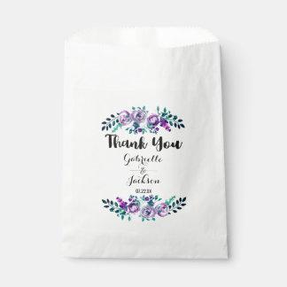 Sacolinha Hortelã & obrigado floral roxo do casamento da