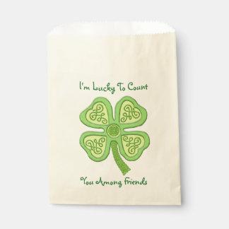 Sacolinha Irlandês afortunado celta Patricks do verde 4-Leaf