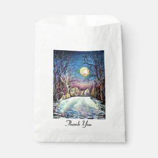 Sacolinha Lua cheia silenciosa do inverno da noite na suecia