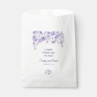 Sacolinha Luz - OBRIGADO floral azul empoeirado roxo do