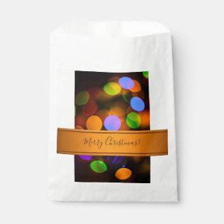 Sacolinha Luzes de Natal coloridos. Adicione o texto ou