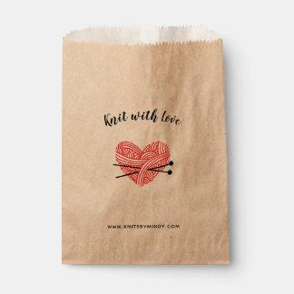 Sacolinha Malha com artesanatos do coração do fio do amor