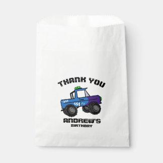Sacolinha Monster truck azul do aniversário do caminhão