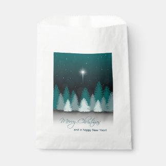 Sacolinha Noite do inverno com a estrela de Bethlehem - saco