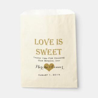 Sacolinha O amor é as bolsas doces do casamento do preto e