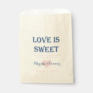 Sacolinha O amor é marinho doce e as bolsas cor-de-rosa do