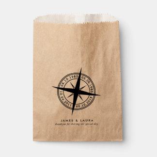 Sacolinha O compasso com seu special data o saco do favor do