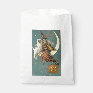 Sacolinha O Dia das Bruxas antiquado, bruxa com coruja