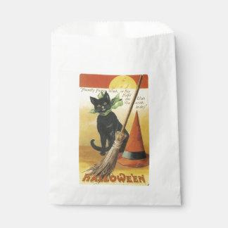 Sacolinha O Dia das Bruxas antiquado, gato preto