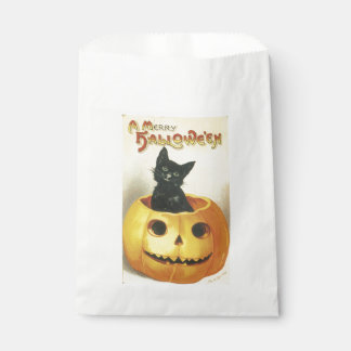 Sacolinha O Dia das Bruxas antiquado, gato preto na abóbora