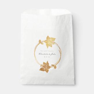 Sacolinha Obrigado botânico do ouro da flor você casamento