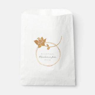 Sacolinha Obrigado botânico do ouro da flor você Wedding1