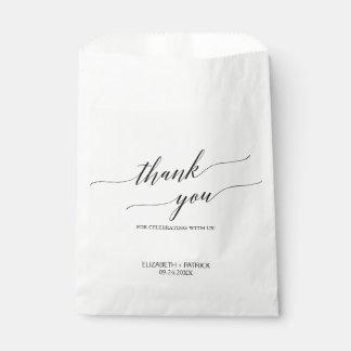 Sacolinha Obrigado branco e preto elegante da caligrafia