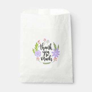 Sacolinha Obrigado da aguarela você folhas roxas florais das
