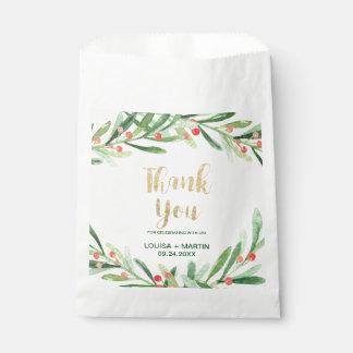 Sacolinha Obrigado da grinalda do azevinho do Natal você