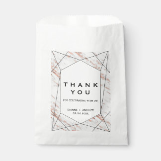 Sacolinha Obrigado de mármore geométrico do ouro cor-de-rosa