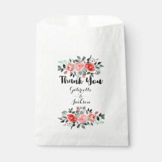 Sacolinha Obrigado do casamento da aguarela da peônia do