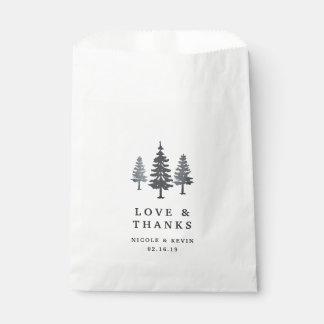Sacolinha Obrigado do casamento da floresta do inverno você