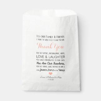 Sacolinha Obrigado do favor do casamento você mensagem cora