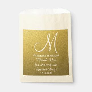 Sacolinha Obrigado elegante do casamento do brilho do ouro