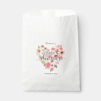 Sacolinha Obrigado floral cor-de-rosa chique do chá de