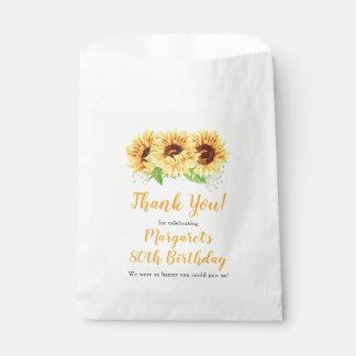 Sacolinha Obrigado floral do aniversário do 80 do girassol