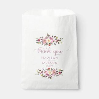 Sacolinha Obrigado floral do casamento da aguarela