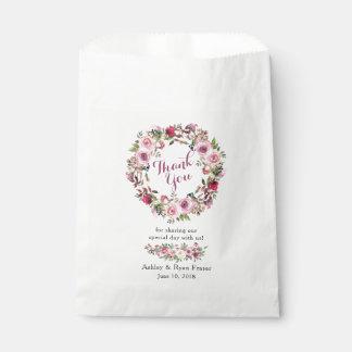 Sacolinha Obrigado floral do casamento do rosa cor-de-rosa