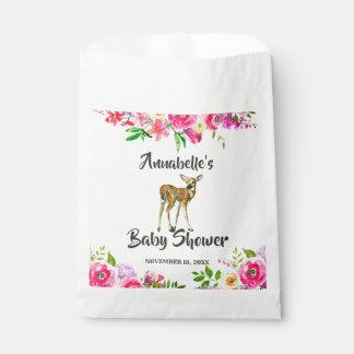 Sacolinha Obrigado floral do chá de fraldas da aguarela dos