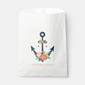 Sacolinha Partido de chá floral do bebé da âncora náutica