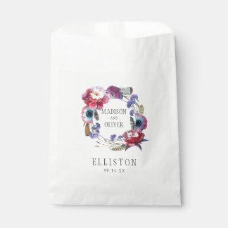 Sacolinha Peônia do Wildflower floral com penas   que
