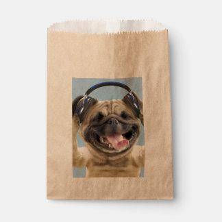 Sacolinha Pug com fones de ouvido, pug, animal de estimação