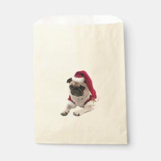 Sacolinha Pug do Natal - cão de Papai Noel - persiga claus