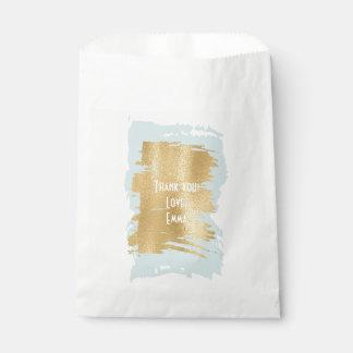 """Sacolinha Saco """"azul/ouro clássicos """" do favor do chá de"""