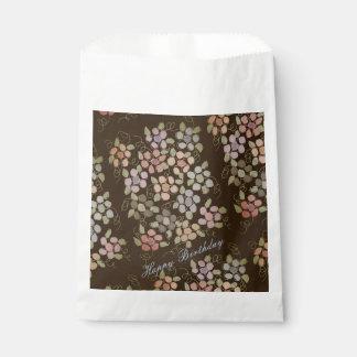 Sacolinha Saco castanho chocolate de papel florescido do