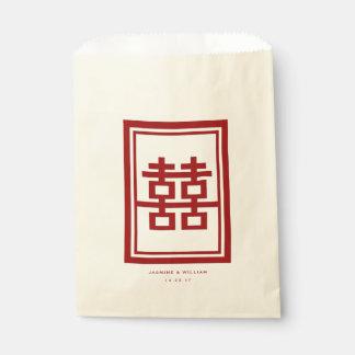 Sacolinha Saco chinês do favor do casamento da felicidade