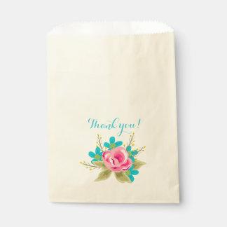 Sacolinha Saco com flores e texto: Obrigado!