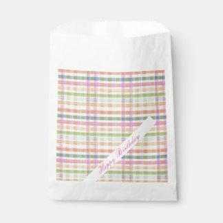 Sacolinha Saco cor-de-rosa do biscoito do papel da xadrez