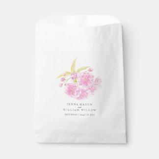 Sacolinha Saco cor-de-rosa do favor do casamento da aguarela