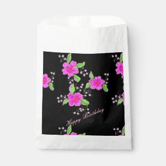 Sacolinha Saco de papel florescido cor-de-rosa brilhante do