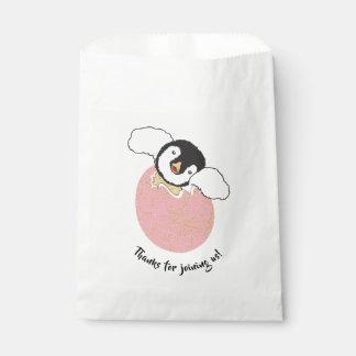 Sacolinha Saco do favor do chá de fraldas, rosa, pinguim do