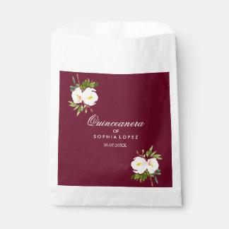 Sacolinha Saco elegante floral do favor de Borgonha