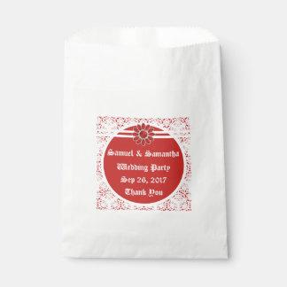 Sacolinha Saco vermelho 3 do favor do casamento da flor