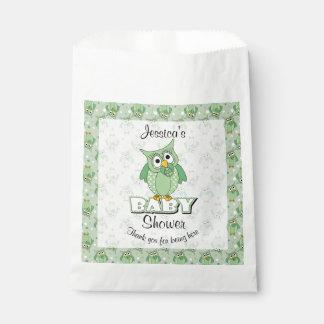 Sacolinha Tema verde do chá de fraldas da coruja das