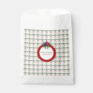 Sacolinha Teste padrão da grinalda do Natal com costume do