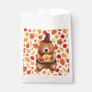 Sacolinha urso do pilgram com fundo festivo