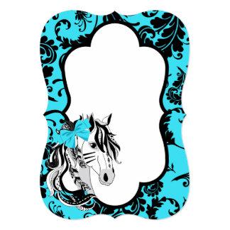 Safari: Cavalo de turquesa Convite 12.7 X 17.78cm