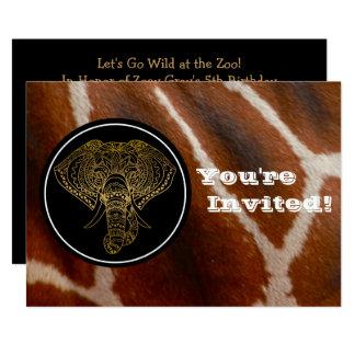 Safari de selva do girafa do elefante da festa de convite 12.7 x 17.78cm