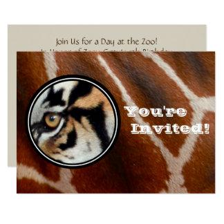 Safari de selva do girafa do tigre da festa de convite 12.7 x 17.78cm